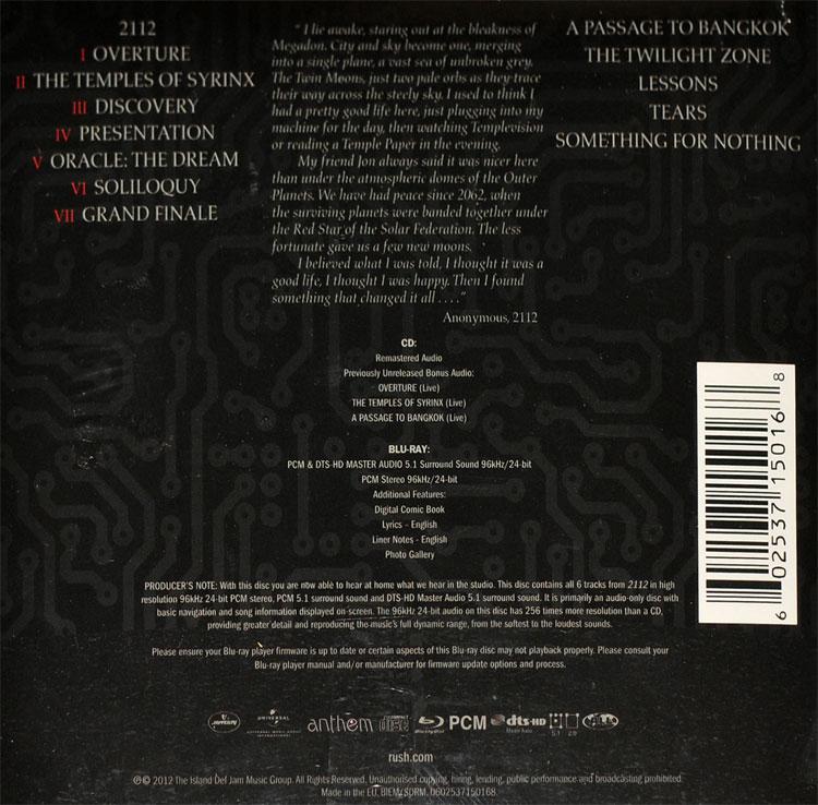 Lyric passage to bangkok lyrics : 2112 (CD + BLU-RAY AUDIO)